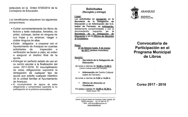 DÍPTICO CONVOCATORIA DE PARTICIPACIÓN EN EL PROGRAMA MUNICIPAL DE LIBROS
