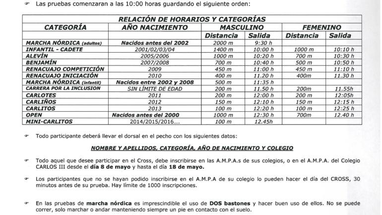 CARTA DE REGLAMENTACIÓN CROSS 2017 (21 DE MAYO)
