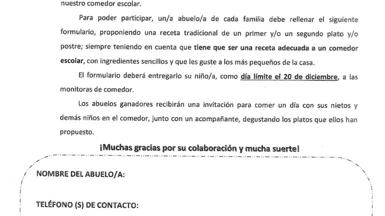 """CONCURSO DE COCINA: """"ABUELO, ENSÉÑANOS"""""""