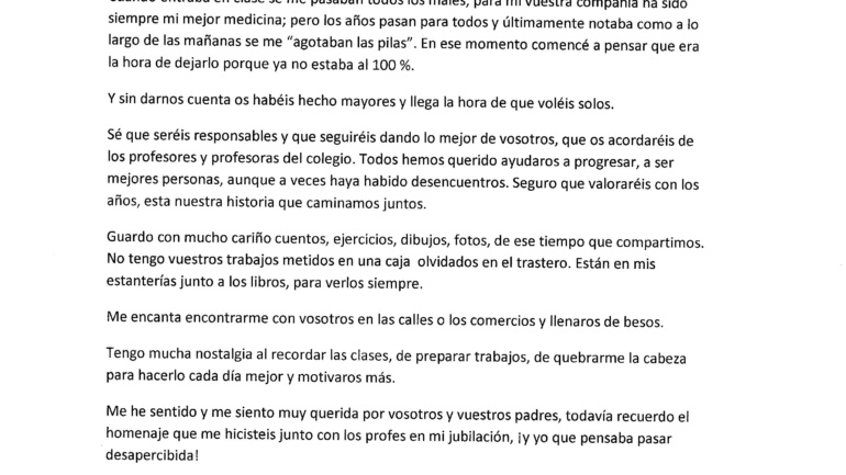 ÉGICA ESCRIBE A SUS EX-ALUMNOS/AS DE 6º DE PRIMARIA