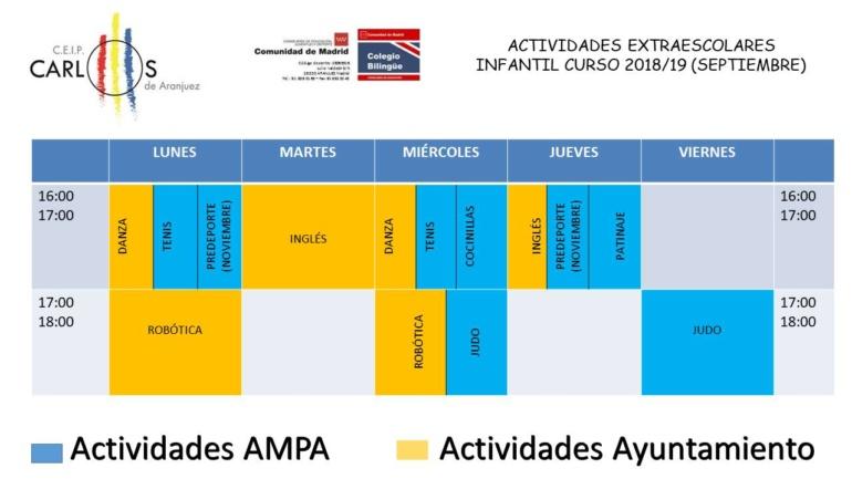 ACTIVIDADES EXTRAESCOLARES CURSO 2018/2019