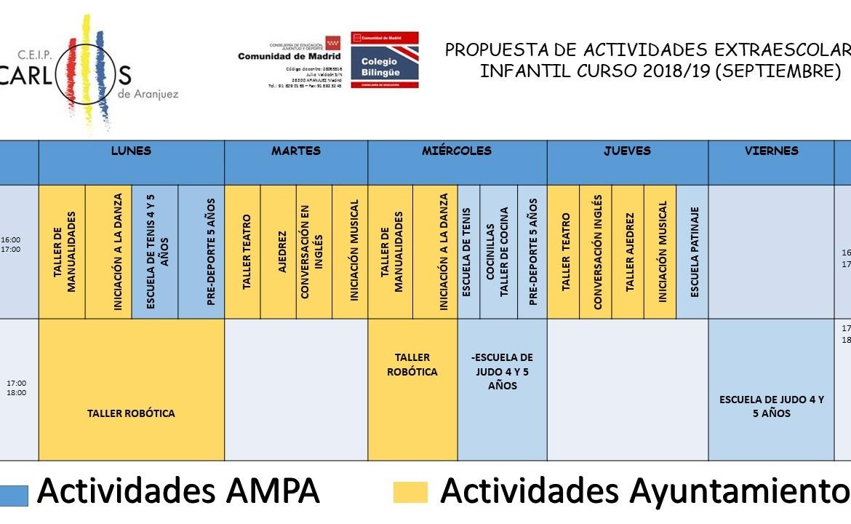 PROPUESTA DE ACTIVIDADES EXTRAESCOLARES AYUNTAMIENTO Y AMPA CURSO 2018/19