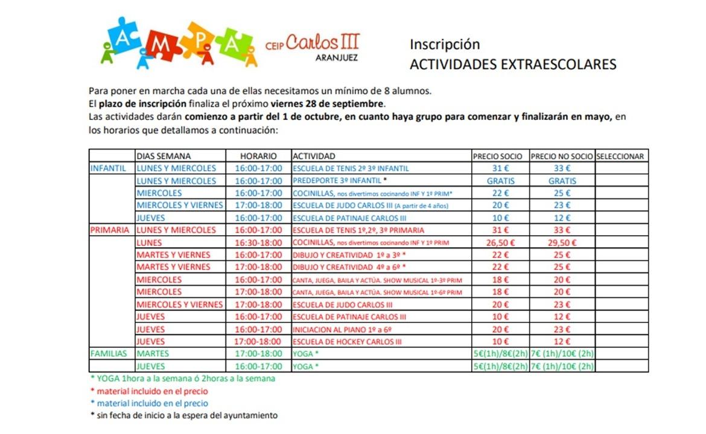 PROPUESTA DE ACTIVIDADES EXTRAESCOLARES AMPA CURSO 2018/19